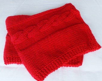 Cable Knit Baby Blanket, Hand Knit Toddler Afghan, Small Throw, Stroller Car Seat Blanket, Scarlet Red Lap Blanket, Newborn Boy or Girl Gift