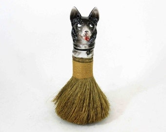 Vintage Porcelain Dog Head Clothes Brush. Made in Germany. Circa 1930's.