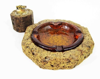 Vintage Table Lighter and Ashtray Set in Cork and Glass. Circa 1950's - 1960's.