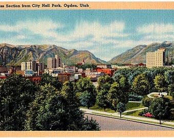 Vintage Utah Postcard - View of Downtown Ogden (Unused)