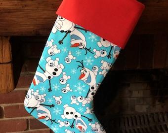 Olaf Stocking, Christmas Stocking, Snowman Stocking