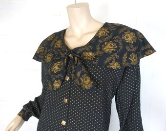 90s Bertha Collar Blouse in Black & Gold- 1990s Witch- Dots + Roses- Large