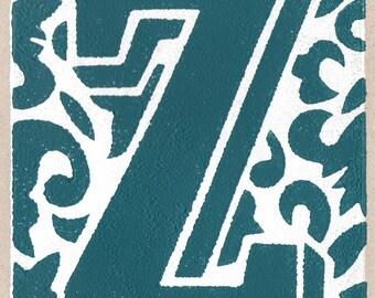 Letter Z. Linocut greeting card.