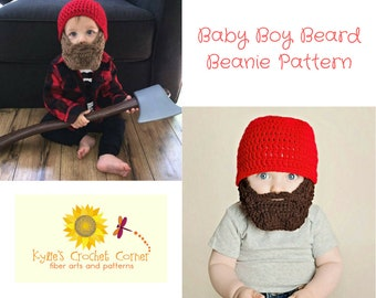Baby Boy Lumberjack Crochet Pattern, Baby Beard Beanie Crochet Pattern, Baby Boy Beard Hat Crochet Pattern, Baby Beard Hat Crochet Pattern