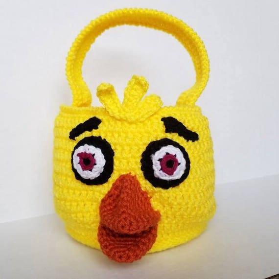 Chica Bag Bin Basket Plush, Chica Amigurumi, FNAF Amigurumi Bag Bin Basket, Five Nights at Freddys Bag Bin Basket Plush, Easter Basket