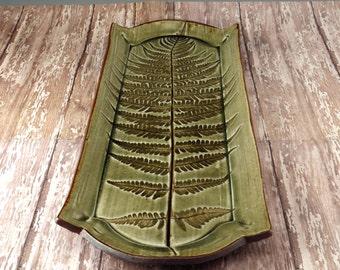 Serving Platter - Ceramic Fern Leaf Plate - Pottery Serving Platter - Celedon Green - Bread Tray - Sushi Tray - 259