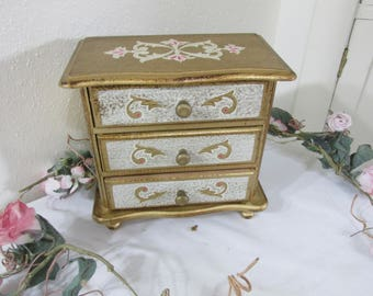 Jewelry Box Vintage 3 Drawer Florentine Gold Gilt