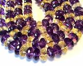 Ametrine AAAA quality facted Medium rondelle beads
