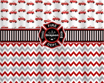 Fireman Theme Shower Curtain, Custom and Personalized, Firetrucks, Chevron, Fire Department Emblem
