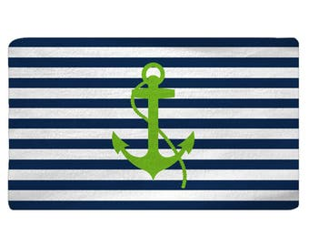 Personalized Anchor Plush Fuzzy Rug -Shown both navy and lime and Lime with Navy Anchor, Size 48x30,  96x44, 96x60  - any color - any design