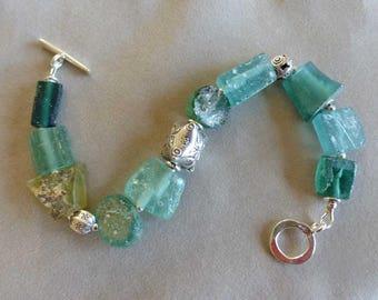 Roman Glass Bracelet, Ancient Roman Glass, Antique Glass, Chunky Glass Bracelet, Gifts for Her
