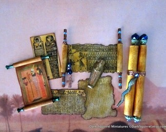Egyptian Hieroglyph Scrolls Set dollhouse miniature, mummy, Tut, egypt, museum, explorer in 1/12 scale