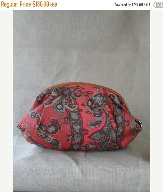 SALE Authentic Vintage 1980s Mint Condition Italian Made Furla Paisley Print Pink Purple Leather Canvas Clutch Handbag Purse
