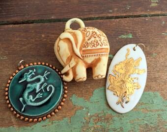 Vintage Large Charms Pendants Jewelry Supplies Elephant Dragon Porcelian floral Flower