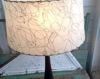 Vintage Mid Century Modern Danish Wood Table Lamp with Fiberglass Shade