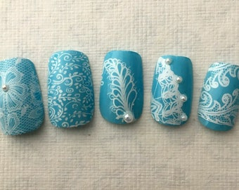 Chantilly Lace Medium Square Nails in Your Choice of Colors, Romantic Bridal Nails, Lace Fake Nails, Prom Nails, Wedding Nails for Brides