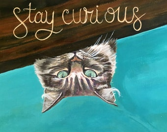 """5 x 7 cat Greeting Card """"Stay Curious"""""""