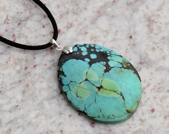 Turquoise Oval Pendant Necklace with Sterling Silver Clam Shell Bail on Black Satin Cord with SIlver Tone Lobster Clasp