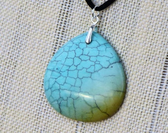 Turquoise Teardrop Pendant Necklace with Sterling Silver Bail and Black Satin Cord with Silver Tone Lobster Clasp
