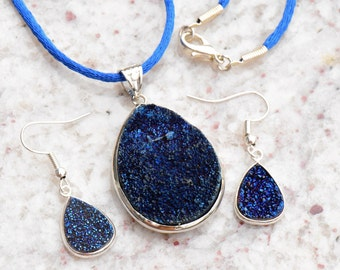 Titanium Agate Druzy Geode Teardrop Pendant with Dark Blue Crystals Pendant and Earring Three Piece Set on Blue Satin Cord