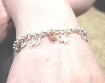 Leaf Bracelet, Sterling Silver and Rose Gold Leaf Charm Bracelet