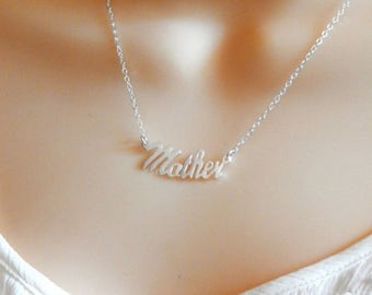 Mothers Day Sale Mothers Necklace, Mother Monogram Necklace, Mother Name Necklace,Baby Shower Gift,Sterling Silver, Mothers Day Gift
