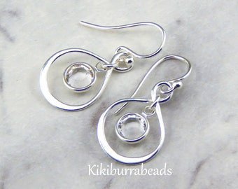 April Birthstone Earrings,Personalized Infinity Earrings,Diamond,April Birthstone Jewelry,Birthday Gift