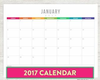 Printable Calendar 2017, 2017 Printable Calendar, 2017 wall calendar, Printable Monthly Calendar, 2017 PRINTABLE CALENDAR