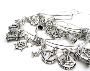 Boston - Nautical Dangling Charms - Adjustable Silver Plated Bangle Bracelet