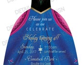 Custom Listing for Jenny - Anna inspired die cut dress birthday invitation with tulle and rhinestone  - Set of 35