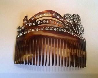 Beautiful Art Deco hair comb diamanté faux tortoiseshell diamond crystal hair accessories vintage antique