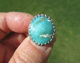 BLUE LAGOON BEAUTY - Sterling Silver Arizona Turquoise Ring - Size