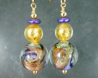 Purple Gray Gold Murano Glass Dangle Earrings, Venetian Glass Jewelry, Ocean Wave Beach Earrings, Nautical Jewelry, Sparkling Glittering