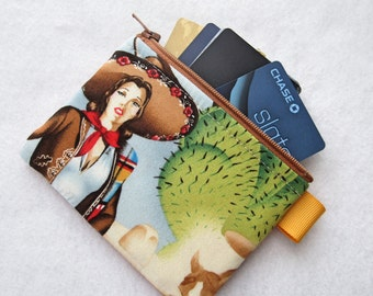 Las Charras Mexican Horsewoman Fabric Business Card Case Coin Purse Fabric Zippered Womens Credit Card Holder Wallet Alexander Henry
