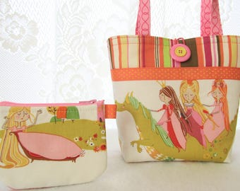 Princess Kingdom Princesses Riding Dragon Little Girls Purse Mini Tote Bag and Coin Purse Set Alexander Henry Pink Green Handmade MTO