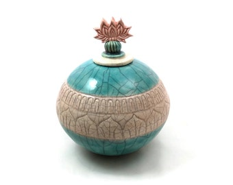 Lotus Treasure Pot Handmade Coil  Raku Pottery