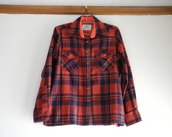 Classic  PLAID wool blend 50s / 60s flannel UNISEX sz. Small / Medium