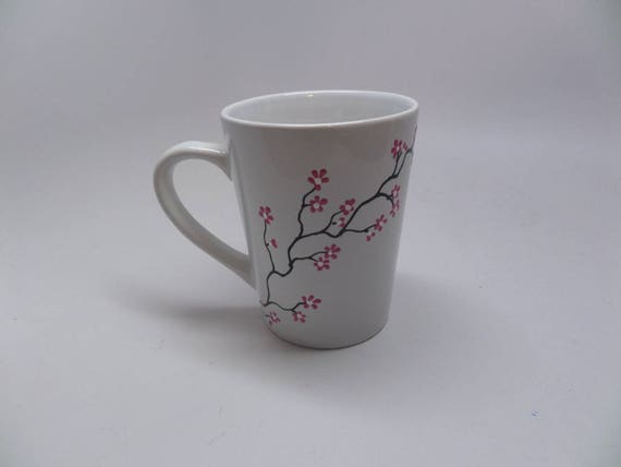Hand Painted Ceramic Mug for Spring with Pink  Flowers  Great Gift for Spring