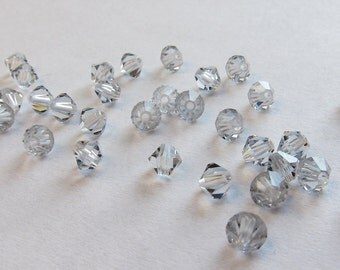 4mm Crystal Silver Shade Swarovski Bicone Beads - (43)