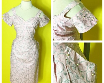 Vintage 1950s Pink and Silver Shoulder Cutout Wiggle Dress L/XL