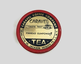 Vintage Collectible Storage Tin - Caravel Pinhead Gunpowder Tea