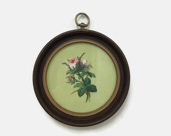Vintage Floral Wall Hanging - Pink Rose - Round Frame