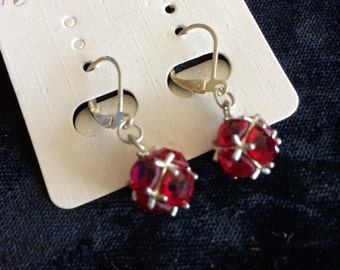Ruby Red, Sterling Silver Lever back, Earrings