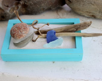 Small Pool Blue Zen Garden with Seaglass , Driftwood and Lake Stones , Mermaid Style , Beach coffee Table Decor