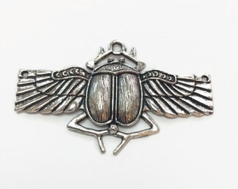 Flying Scarab Pendant, Egyptian Pendant, Destash, Jewelry Making Supplies