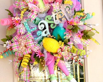 Fun Easter Wreath with Top Hat with Ears and Bunny legs,Bright Fun Easter Bunny with Glittery Eggs Wreath, Front Door Wreath,Wrearth for Fun