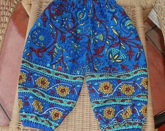 Hippie Harem pants Kids-size 2 - Blue flowers - Girls or Boys-read measurements-Downward Dog Yoga pants
