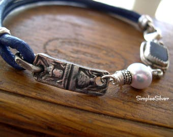 Handmade Jewelry  -  Leather Bracelet  -  Bezel Set Boulder Opal Bracelet  -  Hindu Goddess Kali Bracelet  -  SimpleeSilver Jewelry