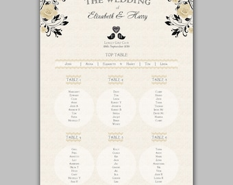 Personalized Wedding Table Plan Roses & Laces | SEATING PLAN Table Planners A2 / W12rose