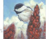 Chickadee Oil Painting - 6 x 6 inches Gallery Wrap Canvas, Bird Art Home Decor